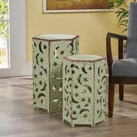 Cassie Moon & Stars Iron Side Table (Set of 2) by Christopher Knight Home
