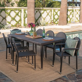 Link to Antigua Outdoor 9-piece Rectangular Wicker Aluminum Dining Set by Christopher Knight Home Similar Items in Patio Furniture