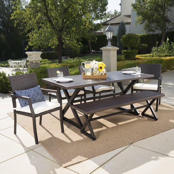 Sherman Oaks Outdoor 6-piece Rectangle Aluminum Wicker Dining Set with Cushions by Christopher Knight Home