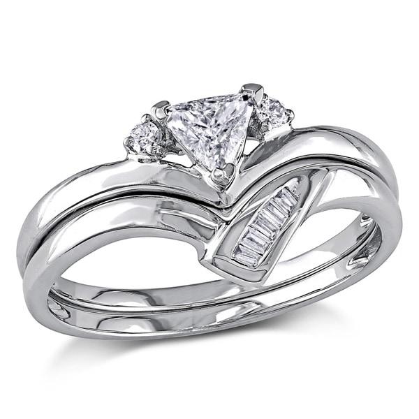 miadora 14k white gold 38ct tdw trillion cut 2 piece diamond ring set - White Gold Wedding Ring Sets