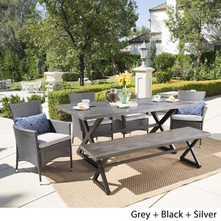 Owen Outdoor 6-piece Rectangle Aluminum Wicker Dining Set with Cushions by Christopher Knight Home