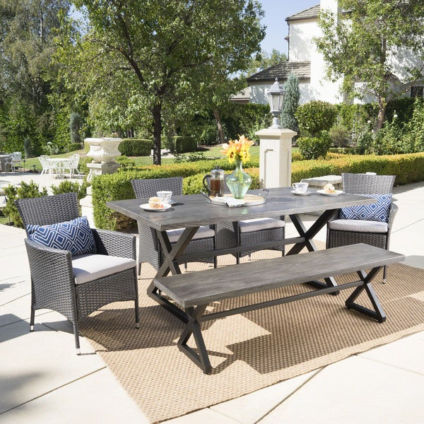 Owen Aluminum Wicker Outdoor 6-piece Dining Set with Cushions by Christopher Knight Home. Opens flyout.