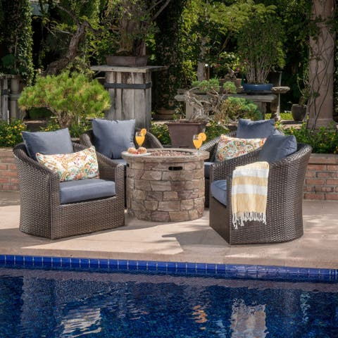 Zinnia Outdoor 5-piece Wicker Aluminum Fire Pit Swivel Chat Set with Cushion by Christopher Knight Home