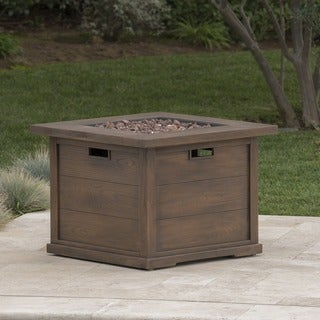 Ellington Outdoor Square Gas Fire Pit with Lava Rocks by Christopher Knight Home