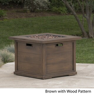 Ellington Outdoor Square Gas Fire Pit with Lava Rocks by Christopher Knight Home (2 options available)
