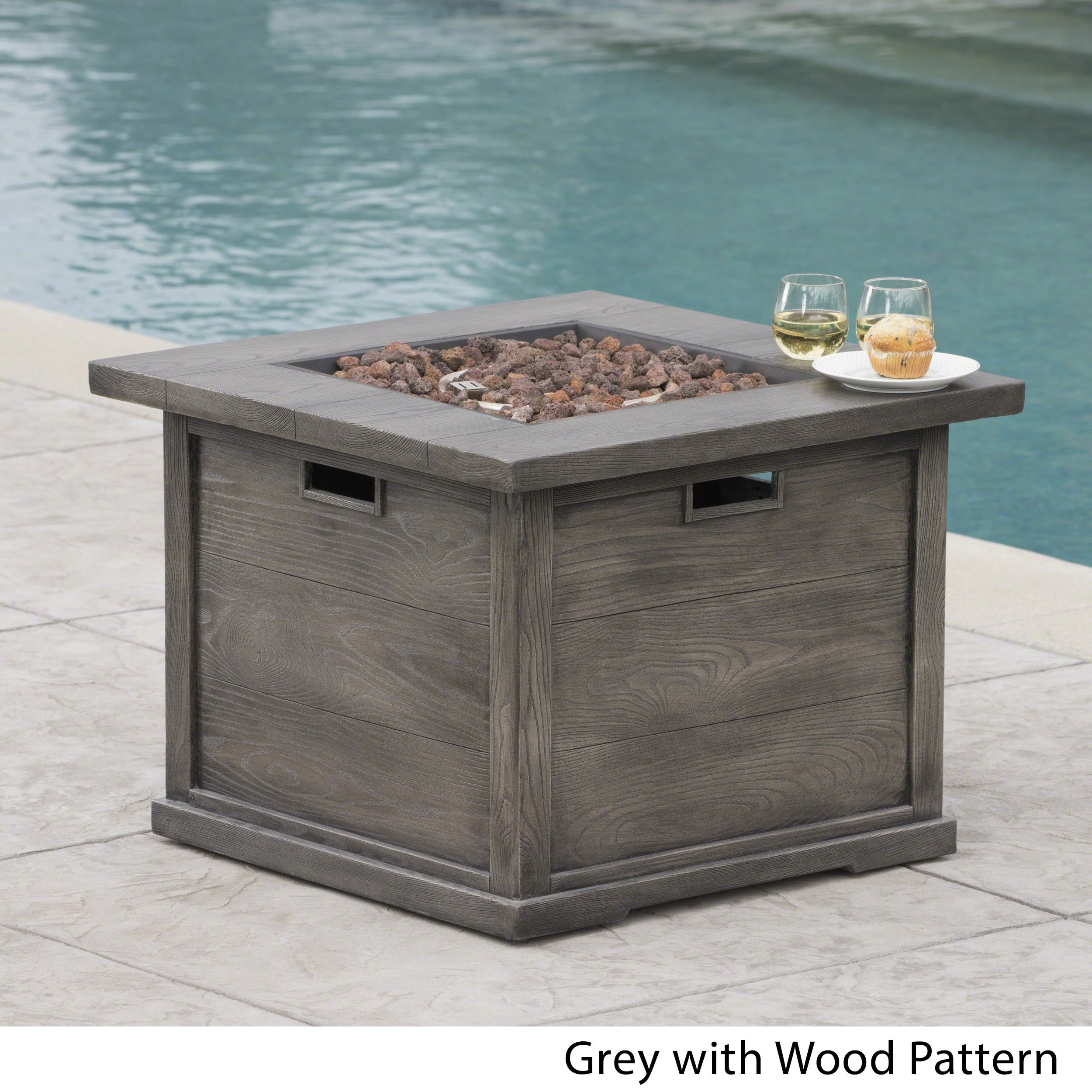 High Quality Ellington Outdoor Square Gas Fire Pit With Lava Rocks By Christopher Knight  Home (Option: