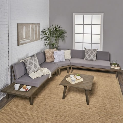 Eulah Minimalist V-shaped Wood 4-piece Sectional Set by Christopher Knight Home
