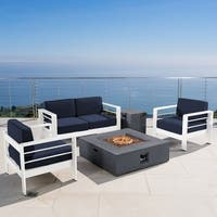 Cape Coral Outdoor 5-piece Fire Aluminum Pit Chat Set with Cushion by Christopher Knight Home