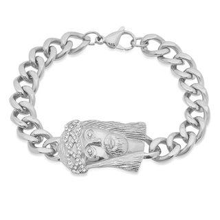 Steeltime Men's Stainless Steel Cubic Zirconia Jesus Head Cuban Link Bracelet