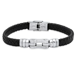 Steeltime Men's Black Braided Bracelet with Stainless Steel Accent|https://ak1.ostkcdn.com/images/products/18540625/P24647063.jpg?impolicy=medium