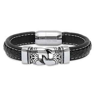 Steeltime Men's Black Leather Braided Overlay Bracelet with Stainless Steel Accents
