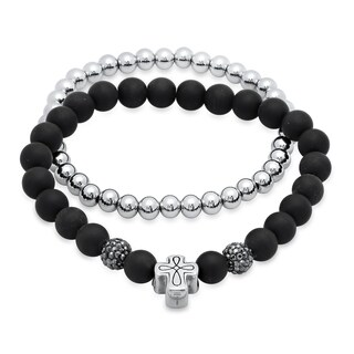Steeltime Men's Set of 2 Stainless Steel and Black Lava Beaded Bracelet with Cubic Zirconia Fireball and Cross Accents
