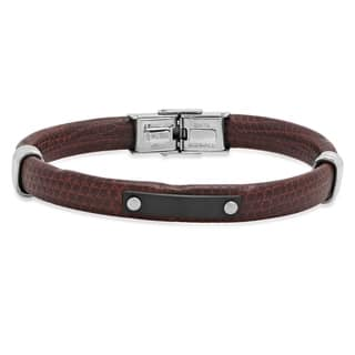 Steeltime Men's Brown Leather Bracelet with Black IP and Stainless Steel Accents|https://ak1.ostkcdn.com/images/products/18540631/P24647072.jpg?impolicy=medium