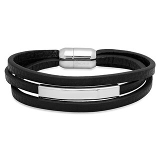 Steeltime Men's Black Leather and Stainless Steel ID Bracelet in 3 Colors