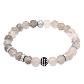 Steeltime Men's Opaque Beaded Bracelet with Stainless Steel and Black Cubic Zirconia