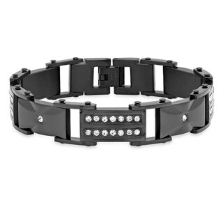 Steeltime Men's Stainless Steel Cubic Zirconia Link Bracelet in 2 Colors