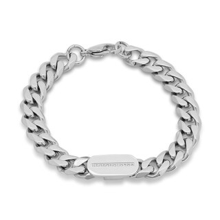 Steeltime Men's Stainless Steel Cubic Zirconia Curb Chain Bracelet in 2 Colors