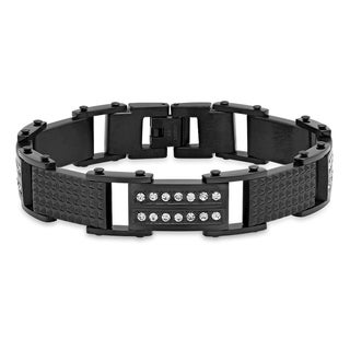 Steeltime Men's Stainless Steel Cubic Zirconia and Studded Link Bracelet in 2 Colors