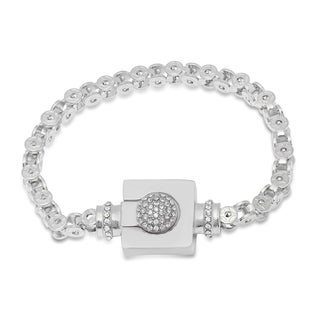Steeltime Men's Stainless Steel Bicycle Chain Link Bracelet with Cubic Zirconia Magnetic Clasp in 3 Colors