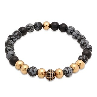 Steeltime Men's Diluted Grey Beaded Bracelet with Gold Tone Stainless Steel Beads and Black Cubic Zirconia