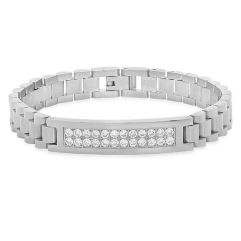 Steeltime Men's Stainless Steel Chain Link Bracelet with Cubic Zirconia in 2 Colors