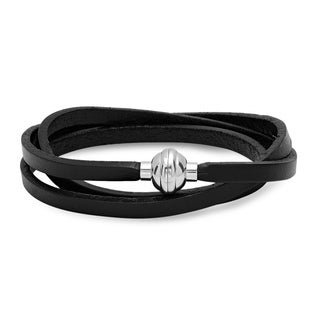 Steeltime Men's Leather Wrap Bracelet with Stainless Steel Round Magnetic Clasp in 2 Colors