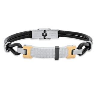 Steeltime Men's Black Leather Corded Bracelet