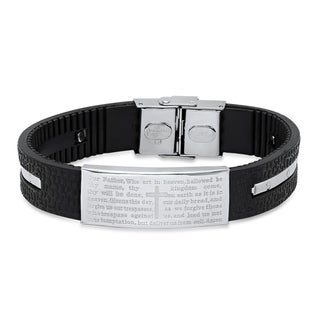 "Steeltime Men's Black Leather and Stainless Steel ""Our Father"" Prayer Ridged Bracelet"