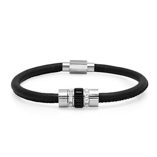 Steeltime Men's Black Leather and Stainless Steel Cubic Zirconia Bracelet in 2 Colors