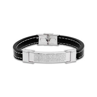 "Steeltime Men's Black Leather Stainless Steel ""Padre Nuestro"" Prayer Bracelet with White Rope Line in 2 Colors"