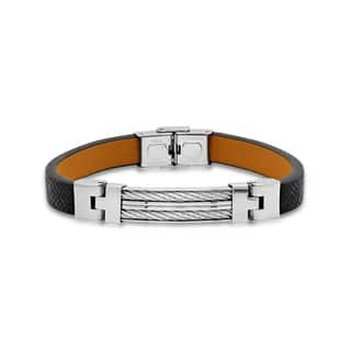Steeltime Men's Black and Brown Leather Bracelet with Stainless Steel Wire Inlay|https://ak1.ostkcdn.com/images/products/18540664/P24647159.jpg?impolicy=medium