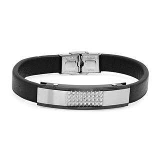 Steeltime Men's Black Leather and Stainless Steel Studded Bracelet|https://ak1.ostkcdn.com/images/products/18540666/P24647086.jpg?_ostk_perf_=percv&impolicy=medium