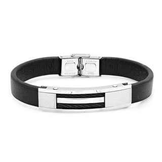 Steeltime Men's Black Leather and Stainless Steel Bracelet|https://ak1.ostkcdn.com/images/products/18540668/P24647089.jpg?impolicy=medium
