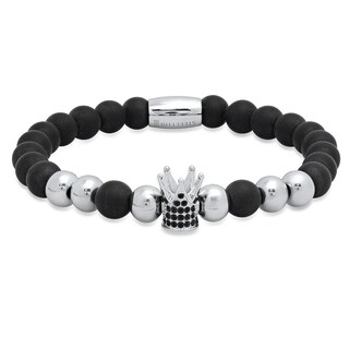 Steeltime Men's Black Lava Beaded Bracelet with Stainless Steel Crown and Black Cubic Zirconia