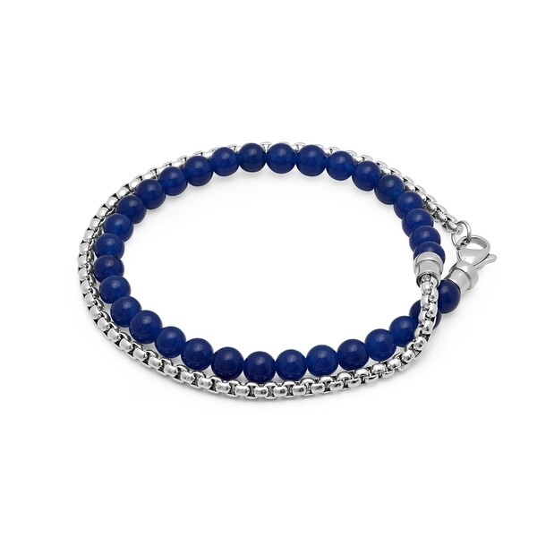 Steeltime Men's Stainless Steel Coreana Chain and Blue Lapis Beaded Wrap Bracelet
