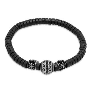Steeltime Men's Black Disk Beaded Bracelet with Stainless Steel Bead