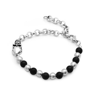 Steeltime Men's Stainless Steel and Black Lava Beaded Bracelet with Skull and Chain in 2 Colors