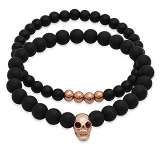Steeltime Men's Set of 2 Black Lava Beaded Bracelet with Rose Gold Tone Stainless Steel Skull