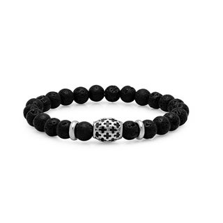 Steeltime Men's Black Lava Beaded Bracelet with Stainless Steel Cross Accented Bead