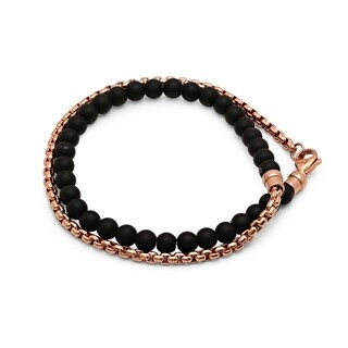 Steeltime Men's Rose Gold Tone Stainless Steel Coreana Chain and Black Lava Beaded Wrap Bracelet