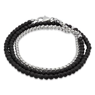 Steeltime Men's Black Beaded and Stainless Steel Rounded Box Chain Wrap Bracelet in 2 Colors