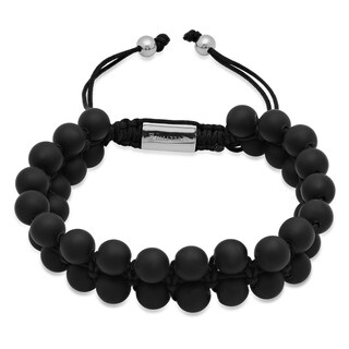 Steeltime Men's Black Lava Beaded Drawstring Bracelet
