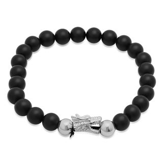 Steeltime Men's Black Lava Beaded Bracelet with Stainless Steel Dragon Head in 2 Colors