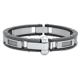 Steeltime Men's Stainless Steel and Black IP Cable Wire Bracelet
