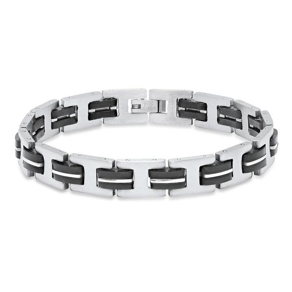 "Mens Stainless Steel Link Bracelet Bangle Chain Black Rubber Wristband Gift 8.5/"""