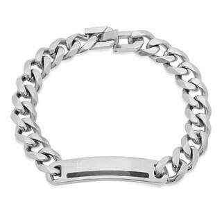 Steeltime Men's Stainless Steel Cuban Link Bracelet with Black Enamel Accented ID in 2 Colors