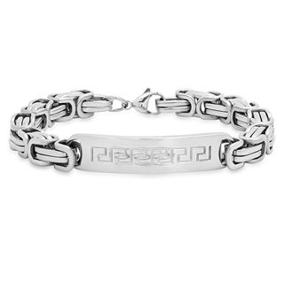 Steeltime Men's Stainless Steel Byzantine Chain Link Bracelet with Greek Key ID Accent in 3 Colors