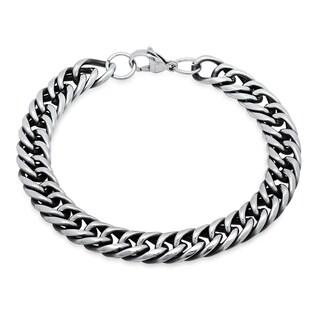 Steeltime Men's Stainless Steel Cuban Chain Link Bracelet