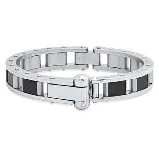 Steeltime Men's Stainless Steel and Black Carbon Fiber Link Bracelet in 2 Colors (Option: Yellow)|https://ak1.ostkcdn.com/images/products/18540708/P24647113.jpg?impolicy=medium