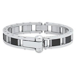 Steeltime Men's Stainless Steel and Black Carbon Fiber Link Bracelet in 2 Colors
